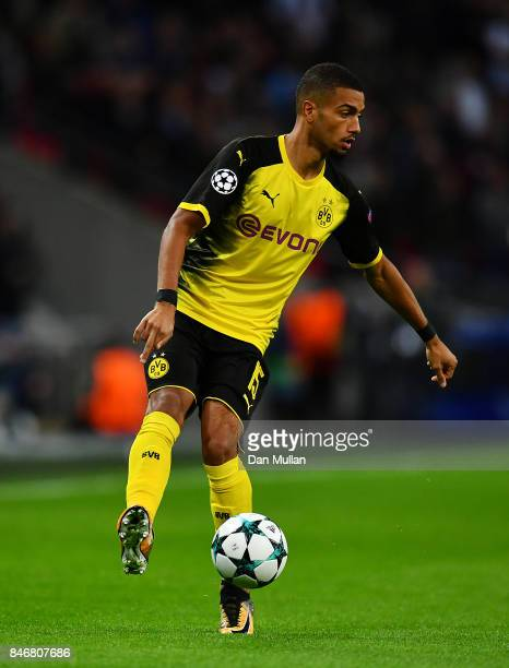 Jeremy Toljan of Borussia Dortmund controls the ball during the UEFA Champions League group H match between Tottenham Hotspur and Borussia Dortmund...