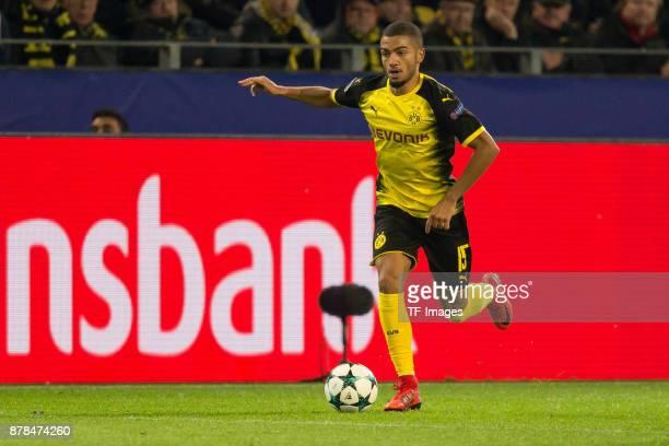 Jeremy Toljan of Borussia Dortmund controls the ball during the UEFA Champions League group H match between Borussia Dortmund and Tottenham Hotspur...