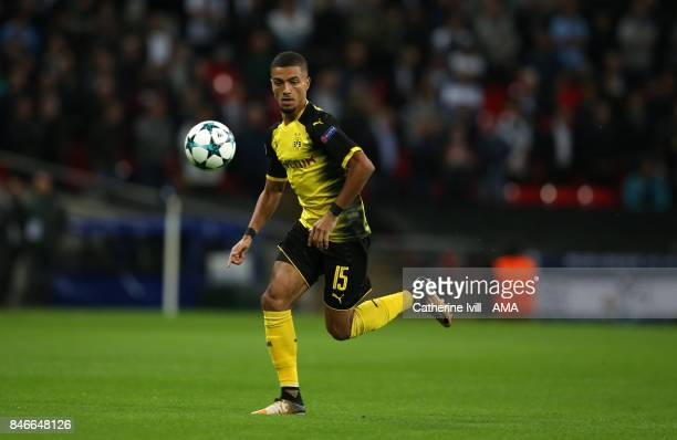 Jeremy Toljan of Borussia Dortmund during the UEFA Champions League group H match between Tottenham Hotspur and Borussia Dortmund at Wembley Stadium...