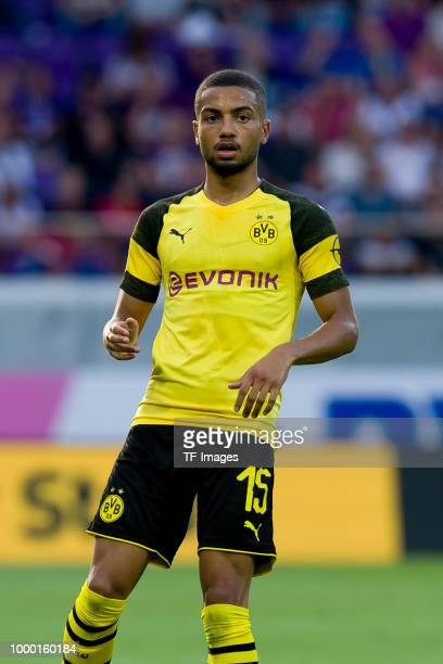 Jeremy Toljan of Borussia Dortmund looks on during the friendly match between Austria Wien and Borussia Dortmund at Generali Arena on July 13 2018 in...