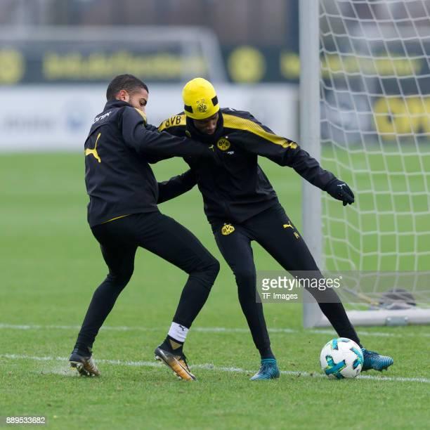 Jeremy Toljan of Dortmund and Aleksander Isak of Dortmund battle for the ball during a training session at BVB trainings center on December 7 2017 in...