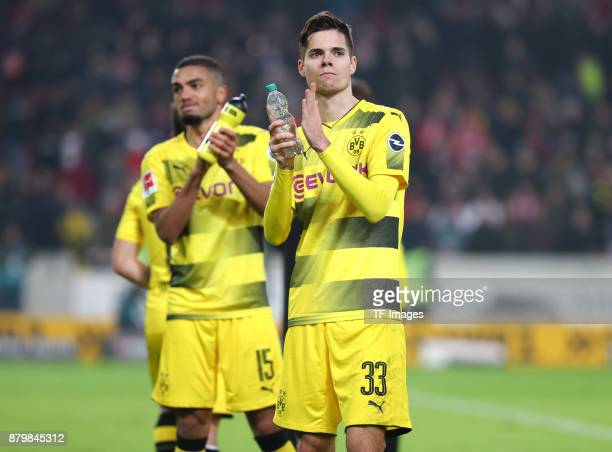 Jeremy Toljan of Dortmund and Julian Weigl of Dortmund are clapping after the Bundesliga match between VfB Stuttgart and Borussia Dortmund at...
