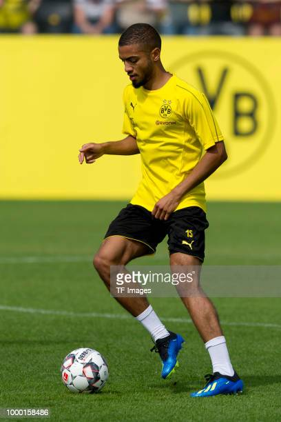 Jeremy Toljan of Dortmund controls the ball during a training session at BVB trainings center on July 9 2018 in Dortmund Germany
