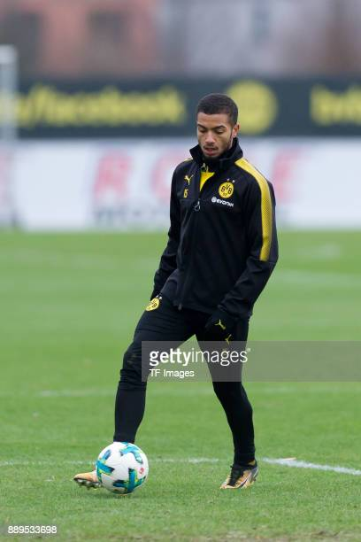 Jeremy Toljan of Dortmund controls the ball during a training session at BVB trainings center on December 7 2017 in Dortmund