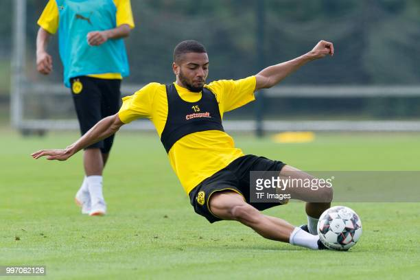 Jeremy Toljan of Dortmund controls the ball during a training session at BVB training center on July 12 2018 in Dortmund Germany
