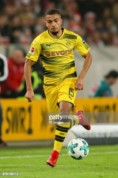 Jeremy Toljan of Dortmund controls the ball during the Bundesliga match between VfB Stuttgart and Borussia Dortmund at MercedesBenz Arena on November...