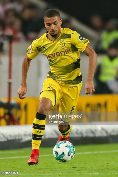 Jeremy Toljan of Dortmund controls the ball during the Bundesliga match between VfB Stuttgart and Borussia Dortmund at MercedesBenz Arena on November...