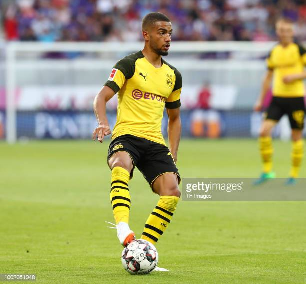 Jeremy Toljan of Dortmund controls the ball during the friendly match between Austria Wien and Borussia Dortmund at Generali Arena on July 13 2018 in...