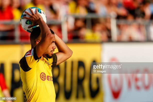 Jeremy Toljan of Dortmund controls the ball during the Friendly Match match between FSV Zwickau and Borussia Dortmund at Stadion Zwickau on May 14...