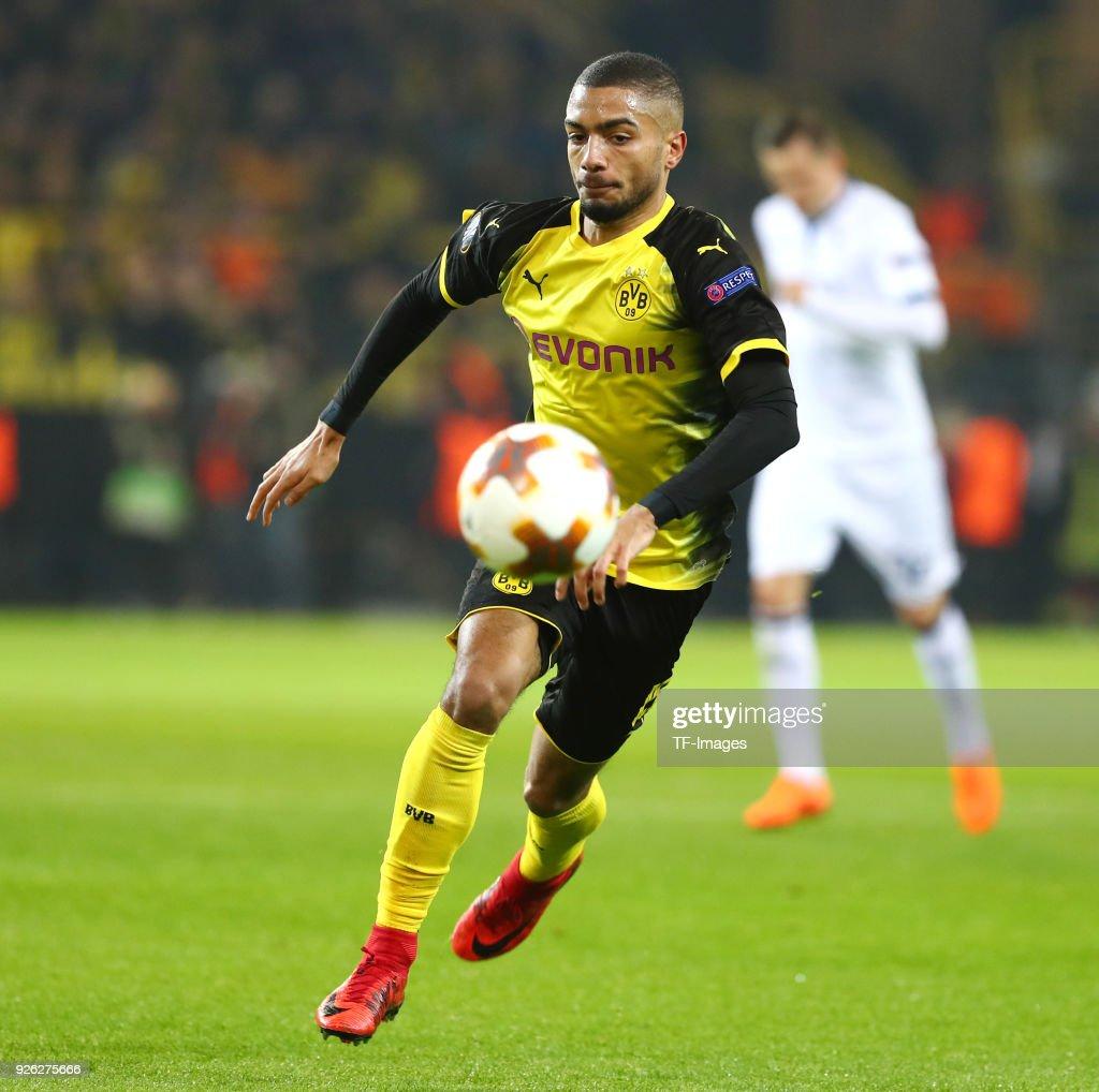 Jeremy Toljan of Dortmund controls the ball during UEFA Europa ...