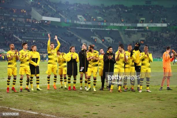 Jeremy Toljan of Dortmund Julian Weigl of Dortmund Marco Reus of Dortmund Lukasz Piszczek of Dortmund Mahmoud Dahoud of Dortmund Mario Goetze of...