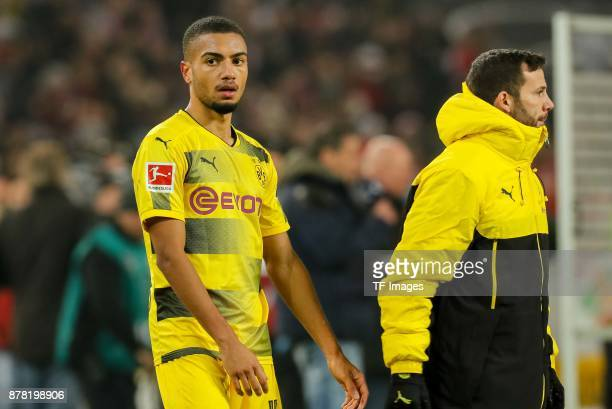 Jeremy Toljan of Dortmund looks dejected during the Bundesliga match between VfB Stuttgart and Borussia Dortmund at MercedesBenz Arena on November 11...