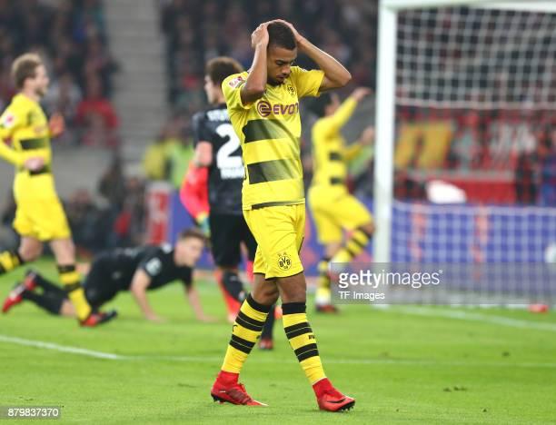 Jeremy Toljan of Dortmund looks dejected during the Bundesliga match between VfB Stuttgart and Borussia Dortmund at MercedesBenz Arena on November 11...