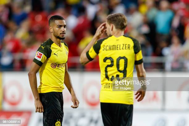 Jeremy Toljan of Dortmund looks on after the Friendly Match match between FSV Zwickau and Borussia Dortmund at Stadion Zwickau on May 14 2018 in...