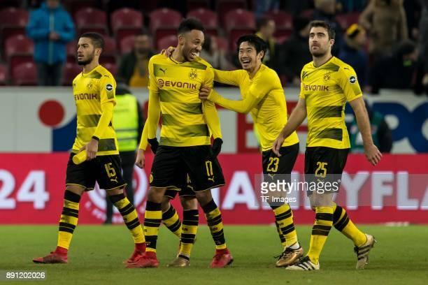 Jeremy Toljan of Dortmund PierreEmerick Aubameyang of Dortmund Shinji Kagawa of Dortmund and Sokratis of Dortmund celebrate after winning the...