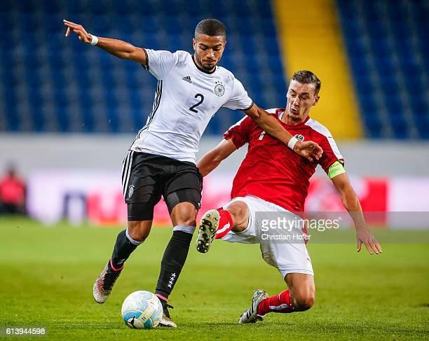 Jeremy Toljan of Germany challenges Dominik Wydra of Austria during the 2017 UEFA European U21 Championships Qualifier between U21 Austria and U21...