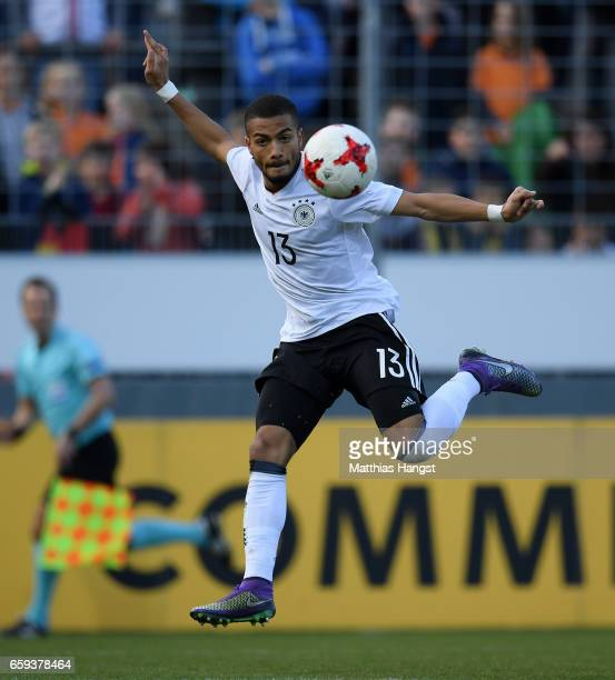 Jeremy Toljan of Germany controls the ball during the U21 International Friendly match between Germany U21 and Portugal U21 at GaziStadion auf der...