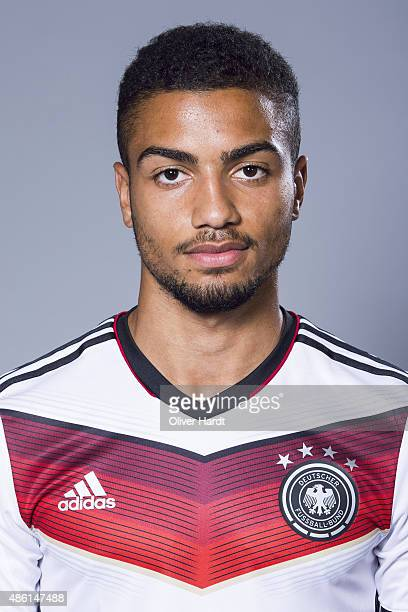 Jeremy Toljan of Germany poses during the team presentation of Germany U21on August 31 2015 in Hamburg Germany