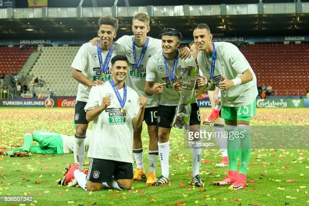 Jeremy Toljan of Germany Thilo Kehrer of Germany Janik Haberer of Germany Mahmoud Dahoud of Germany Goalkeeper Odisseas Vlachodimos of Germany mit...