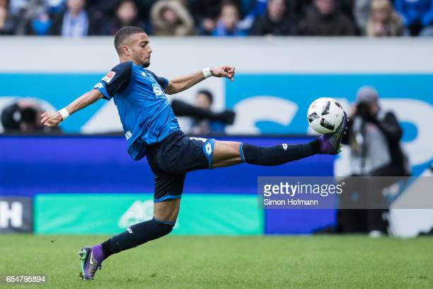 Jeremy Toljan of Hoffenheim controls the ball during the Bundesliga match between TSG 1899 Hoffenheim and Bayer 04 Leverkusen at Wirsol...