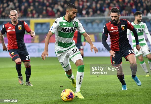 Jeremy Toljan of US Sassuolo in action during the Serie A match between Genoa CFC and US Sassuolo at Stadio Luigi Ferraris on January 5, 2020 in...