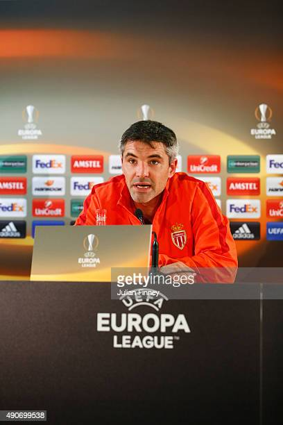 Jeremy Toulalan of AS Monaco FC talks to the media during AS Monaco FC press conference at Stade Louis II on September 30 2015 in Monaco Monaco