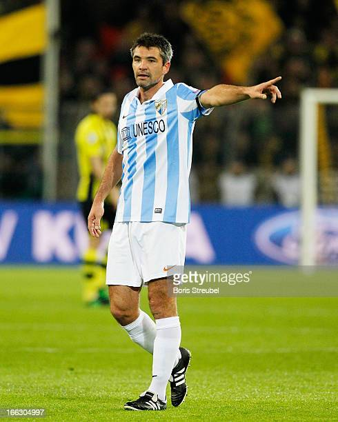 Jeremy Toulalan of Malaga gestures during the UEFA Champions League quarterfinal second leg match between Borussia Dortmund and Malaga at Signal...