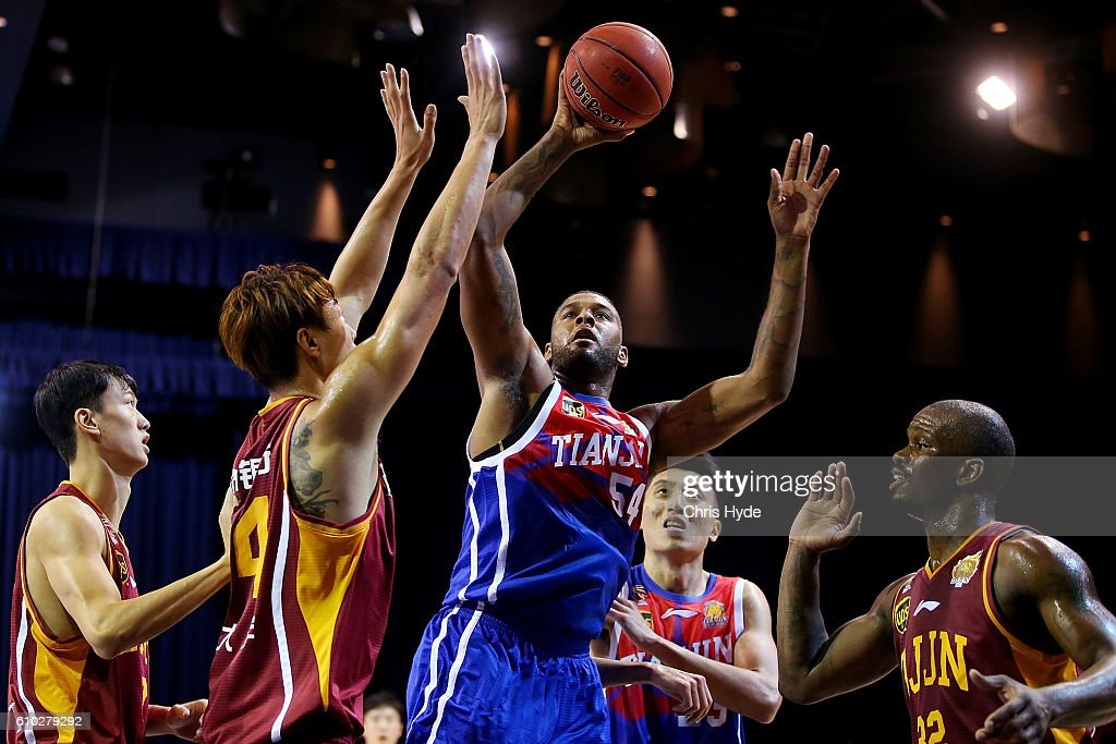 Jeremy Tyler of the Gold Lions shoots during the Australian Basketball Challenge match between Tianjin Ronggang Gold Lions and Zhejiang Golden Bulls at Brisbane Convention and Exhibition Centre on September 25, 2016 in Brisbane, Australia.