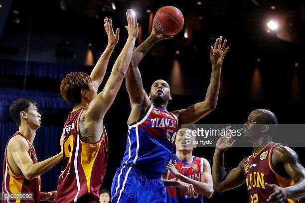 Jeremy Tyler of the Gold Lions shoots during the Australian Basketball Challenge match between Tianjin Ronggang Gold Lions and Zhejiang Golden Bulls...
