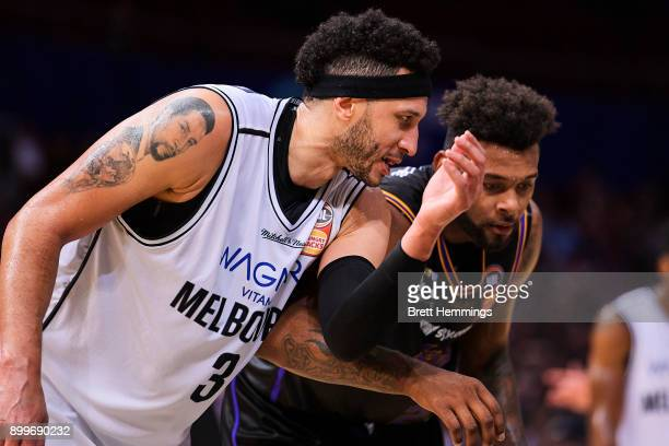 Jeremy Tyler of the Kings and Josh Boone of Melbourne face off during the round 12 NBL match between the Sydney Kings and Melbourne United at Qudos...