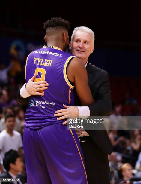 Jeremy Tyler of the Kings celebrates victory with Kings coach Andrew Gaze during the round eight NBL match between the Sydney Kings and the Cairns...