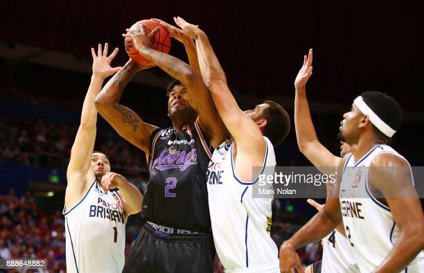 Jeremy Tyler of the Kings comes under pressure from the Bulletts defence during the round nine NBL match between the Sydney Kings and the Brisbane...