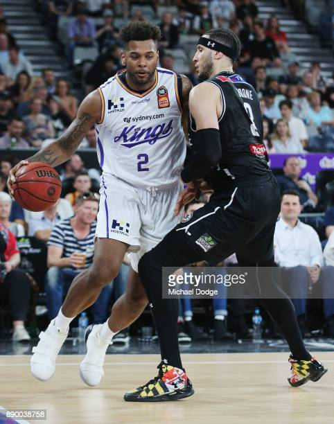 Jeremy Tyler of the Kings drives to the hoops against Josh Boone of United during the round nine NBL match between Melbourne United and the Sydney...
