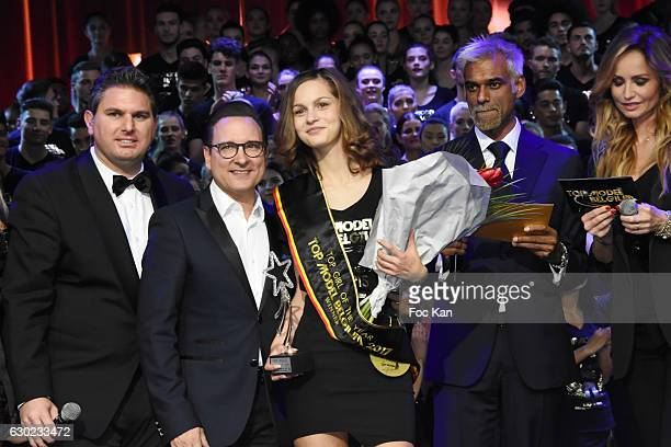 Jeremy Urbain Jean Marc Genereus an 2017 awarded model Satya Oblette and Adriana Karembeu attend the 'Top Model Belgium 2017' Ceremony at Le Lido on...