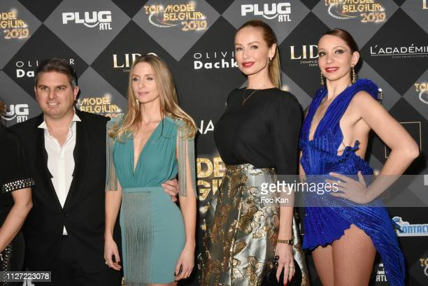 Jeremy Urbain Laura Urbain and Adriana Karembeu attend the Top Model Belgium 2019 Ceremony at Le Lido on February 03 2019 in Paris France