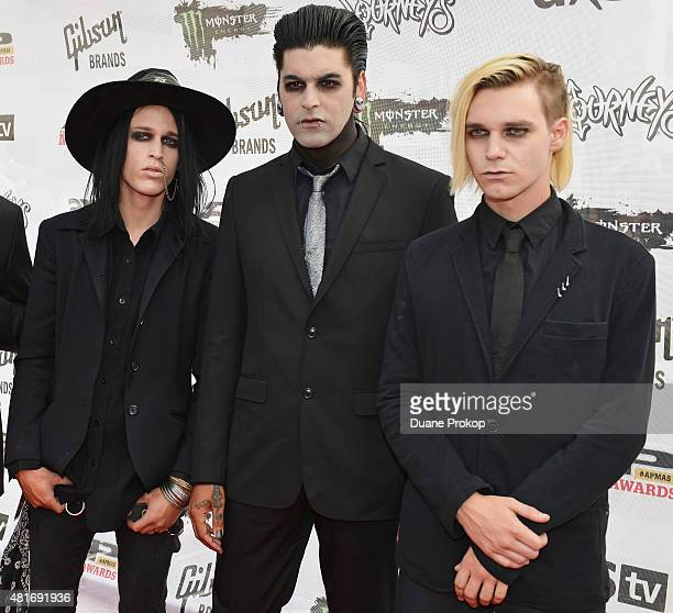 Jeremy Valentyne Chris Khaos and Nick Rossi of New Years Day attend the 2015 Journeys AP Music Awards Fueled by Monster Energy Drink at Quicken Loans...