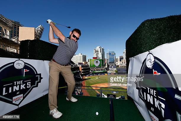 Jeremy Van Leeuwen of Escondido hits off a tee during The Links at Petco Park on November 5, 2015 in San Diego, California. The San Diego Padres...