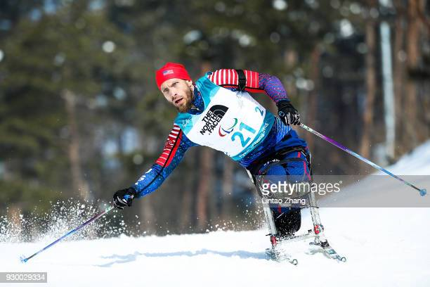 Jeremy Wagner of the United States competes in the Women's 6KM Sitting Biathlon event at Alpensia Biathlon Centre during day one of the PyeongChang...