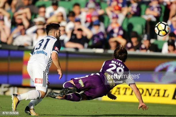 Jeremy Walker of the Glory heads the ball during the round seven ALeague match between Perth Glory and Melbourne Victory at nib Stadium on November...