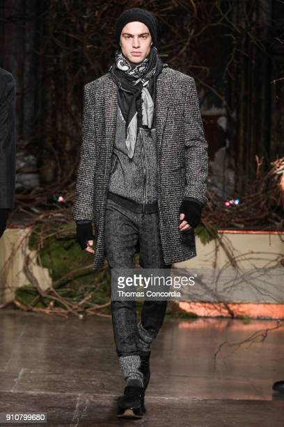 Jeremy walks the runway wearing John Varvatos Fall/Winter 2018 with makeup by Chika Chan for MakeUp Pro and Hair by Yannik D'Is for Cultler/Redken at...
