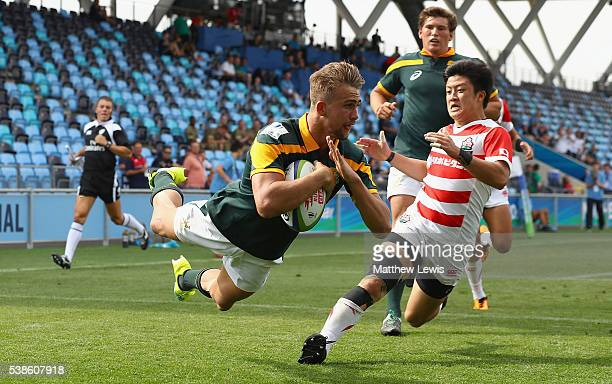 Jeremy Ward of South Africa scores his second try during the World Rugby U20 Championship match between South Africa and Japan at The Academy Stadium...