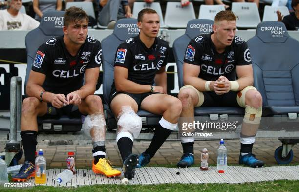 Jeremy Ward with Curwin Bosch and JeanLuc du Preez during the Super Rugby match between Cell C Sharks and Force at Growthpoint Kings Park on May 06...
