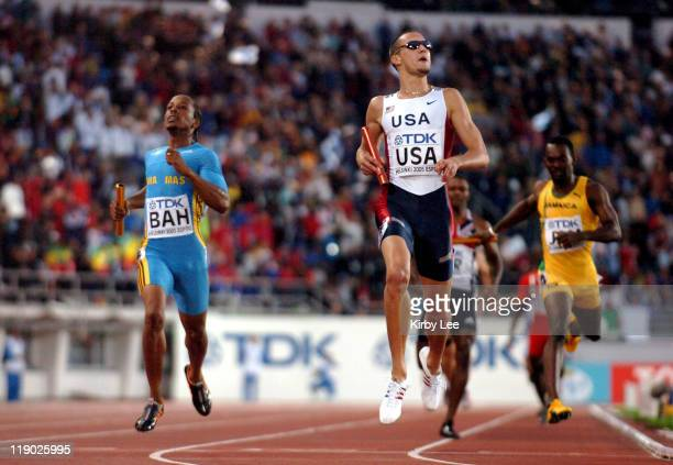 Jeremy Wariner anchors victorious United States 1600meter relay that timed 25691 in the IAAF World Championships in Athletics at Olympic Stadium in...