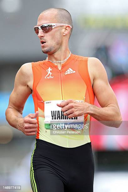 Jeremy Wariner competes in the men's 400 meter dash during Day Two of the 2012 US Olympic Track Field Team Trials at Hayward Field on June 23 2012 in...