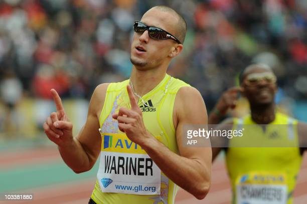 US Jeremy Wariner gestures after winning the Mens 400 metres final during the Samsung Diamond League meeting at Crystal Palace in London August 14...