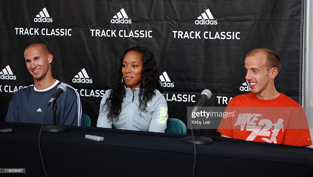 Jeremy Wariner, Me'Lisa Barber and Alan Webb at adidas Track Classic press conference at the Home Depot Center in Carson, Calif. on Thursday, May 18, 2006.