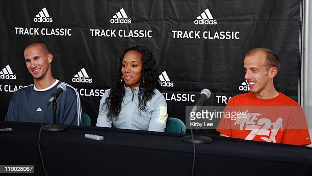 Jeremy Wariner Me'Lisa Barber and Alan Webb at adidas Track Classic press conference at the Home Depot Center in Carson Calif on Thursday May 18 2006