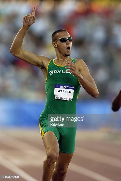 Jeremy Wariner of Baylor won the men's 400 meters in 4437 seconds at the US Track and Field Olympic trials at California State University Sacramento...