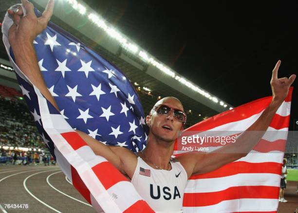Jeremy Wariner of the United States of America celebrates winning the Men's 400m Final on day seven of the 11th IAAF World Athletics Championships on...