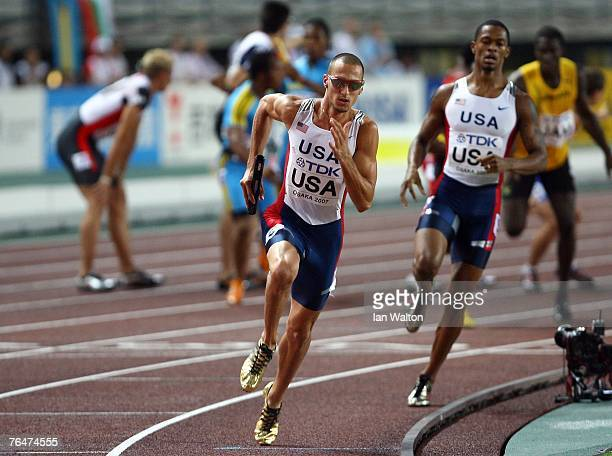 Jeremy Wariner of the United States of America competes during the Men's 4 x 400m Relay Final on day nine of the 11th IAAF World Athletics...